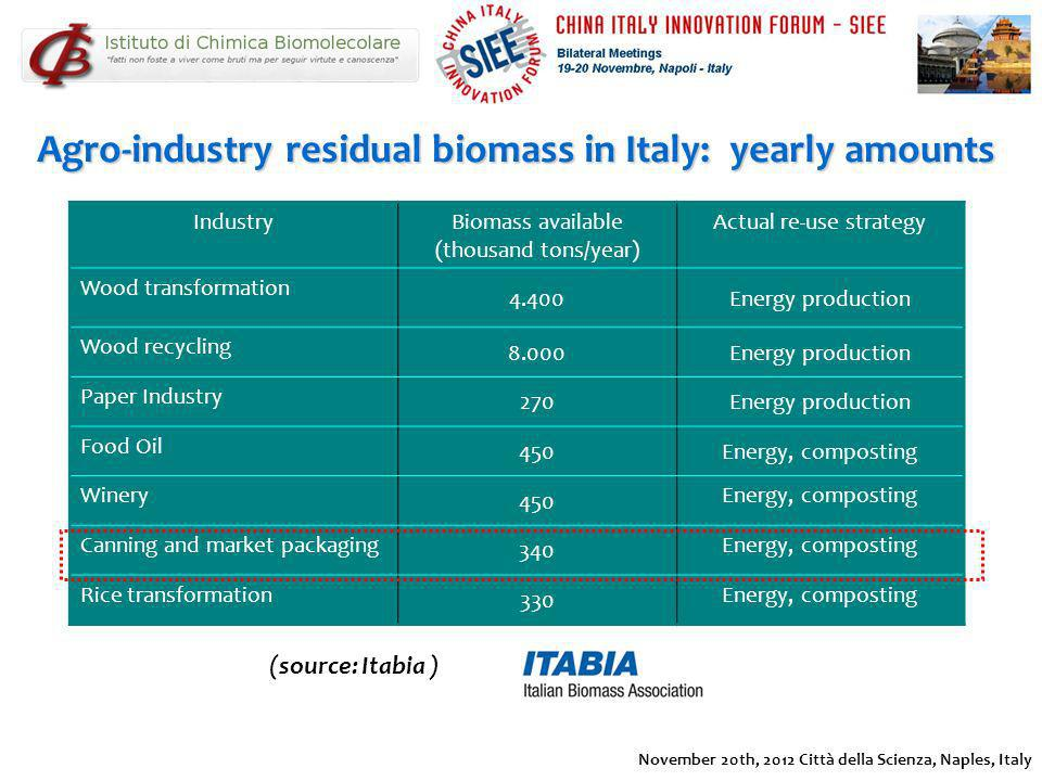 Agro-industry residual biomass in Italy: yearly amounts