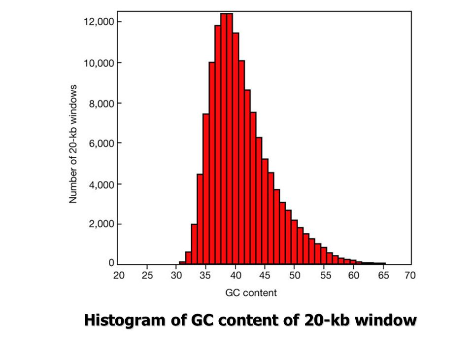 Histogram of GC content of 20-kb window