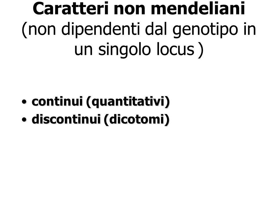 Caratteri non mendeliani (non dipendenti dal genotipo in un singolo locus )