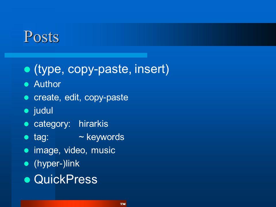 Posts (type, copy-paste, insert) QuickPress Author
