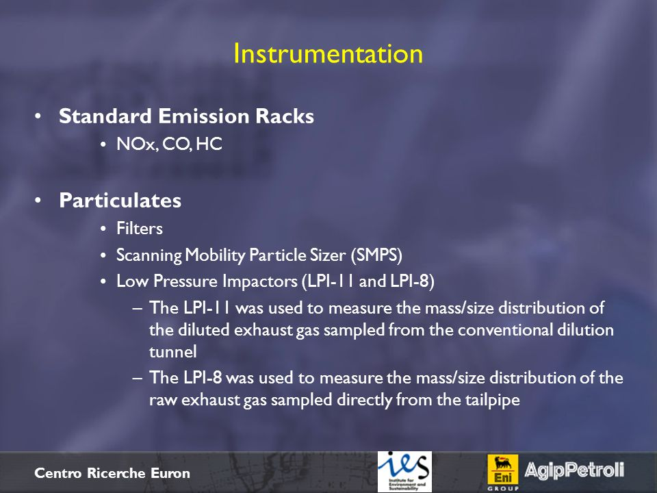 Instrumentation Standard Emission Racks Particulates NOx, CO, HC