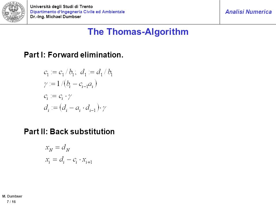The Thomas-Algorithm Part I: Forward elimination.