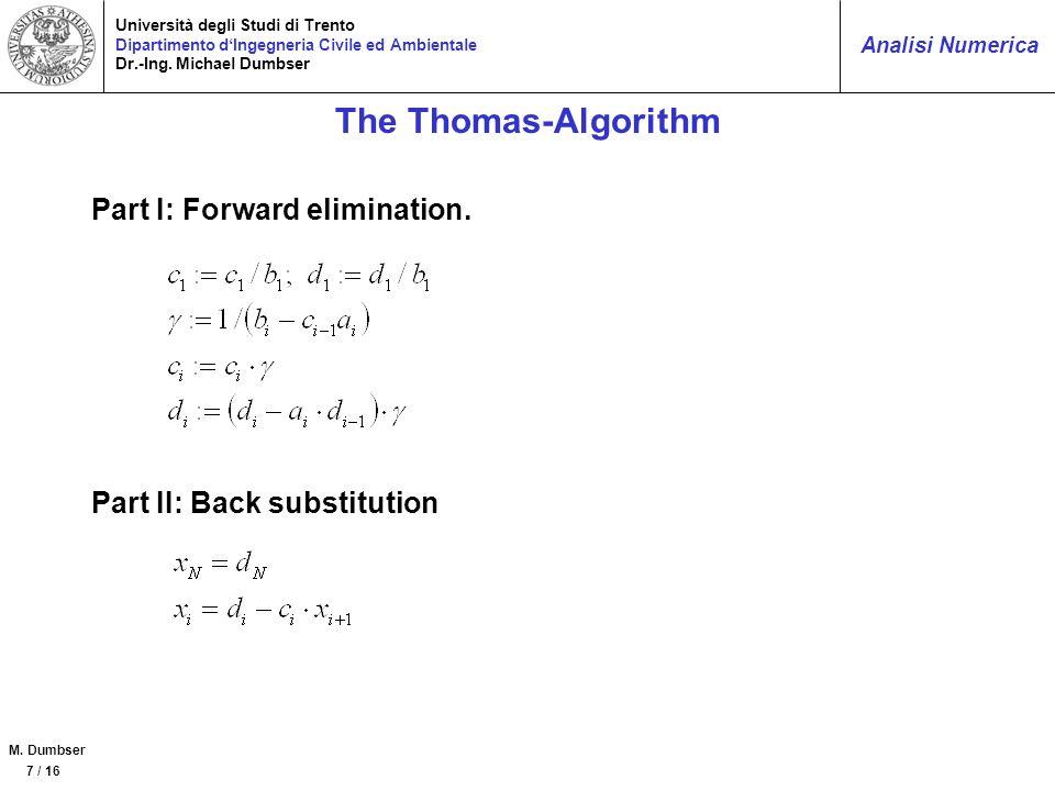 The Thomas-Algorithm Part I: Forward elimination.