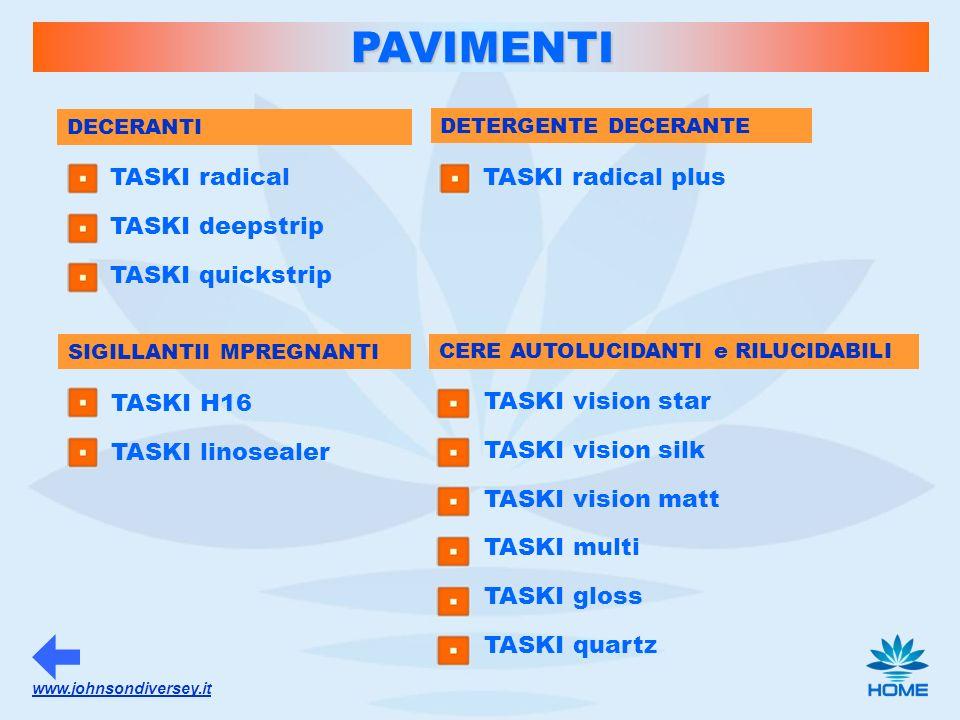 PAVIMENTI TASKI radical TASKI deepstrip TASKI quickstrip