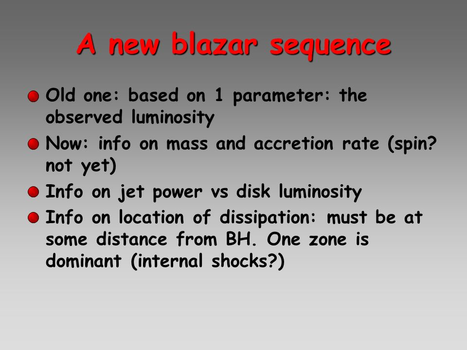 A new blazar sequence Old one: based on 1 parameter: the observed luminosity. Now: info on mass and accretion rate (spin not yet)