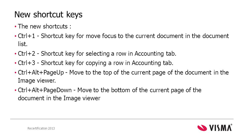 New shortcut keys The new shortcuts :