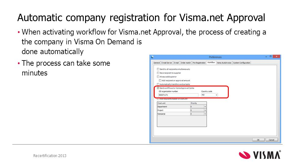 Automatic company registration for Visma.net Approval