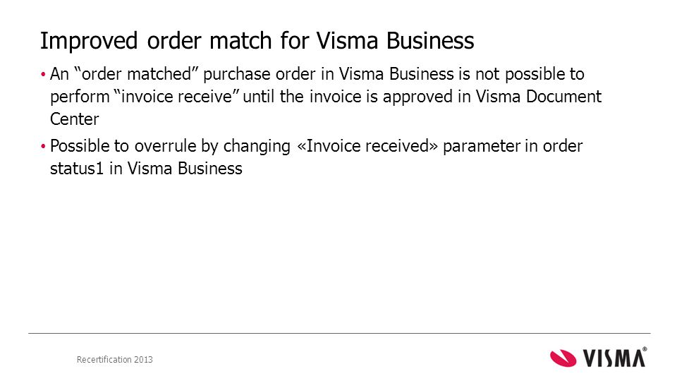 Improved order match for Visma Business
