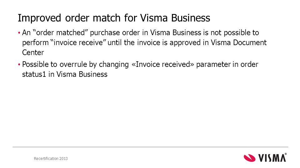 Improved order match for Visma Business