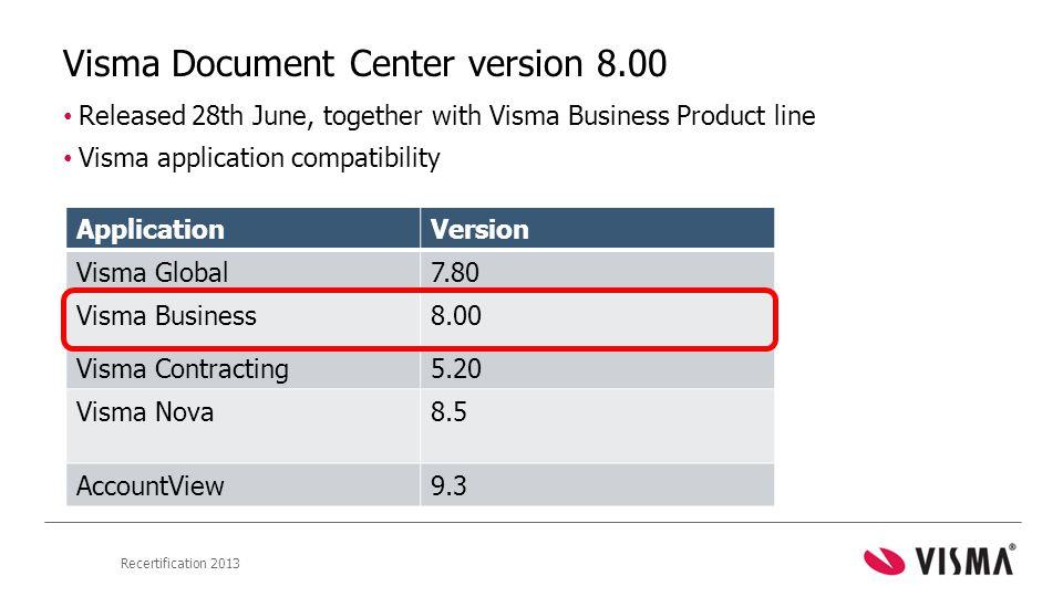 Visma Document Center version 8.00