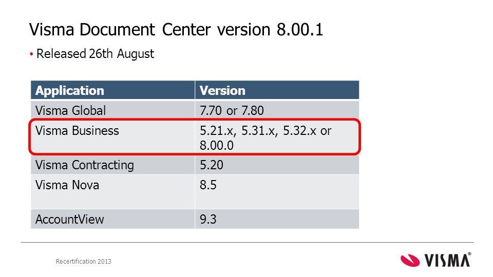 Visma Document Center version 8.00.1