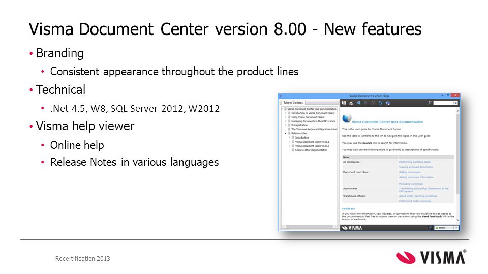 Visma Document Center version 8.00 - New features