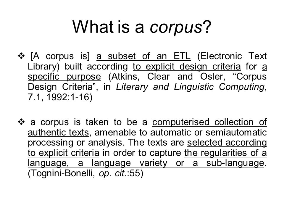 What is a corpus