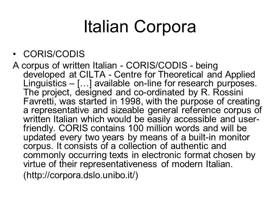 Italian Corpora CORIS/CODIS