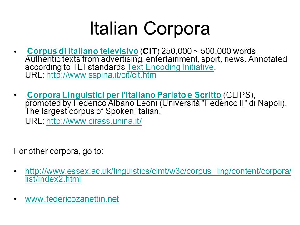 Italian Corpora
