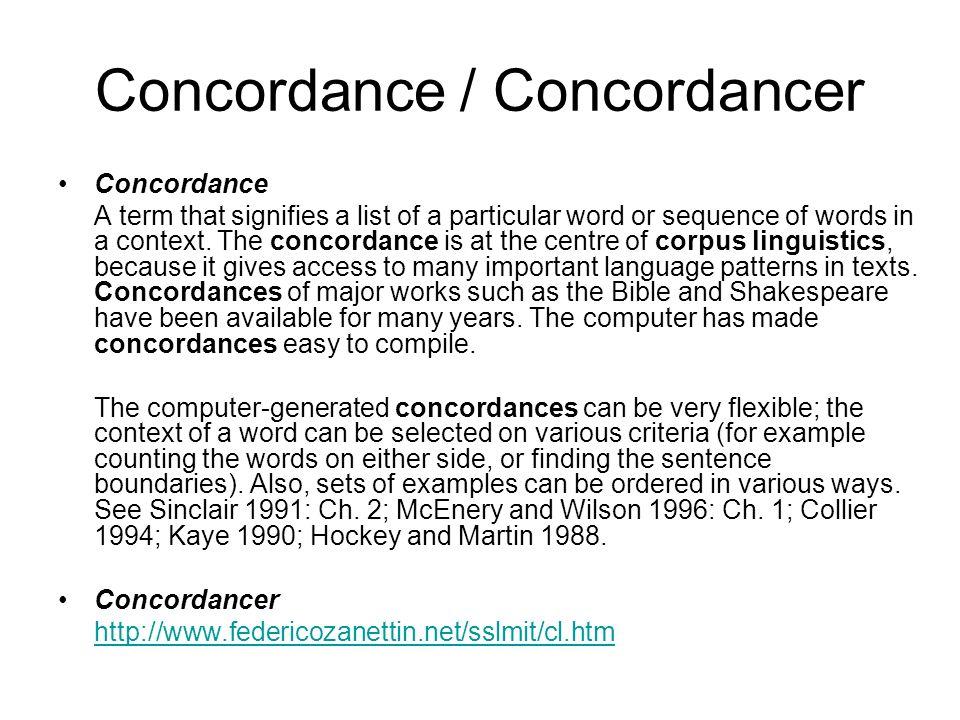 Concordance / Concordancer