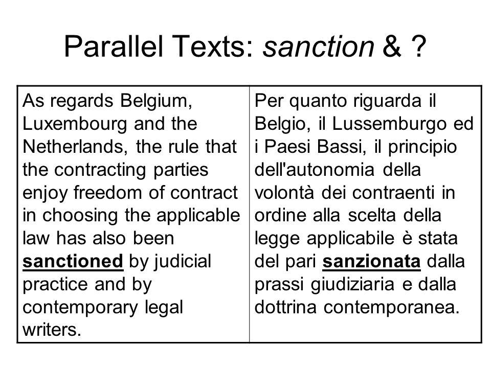 Parallel Texts: sanction &