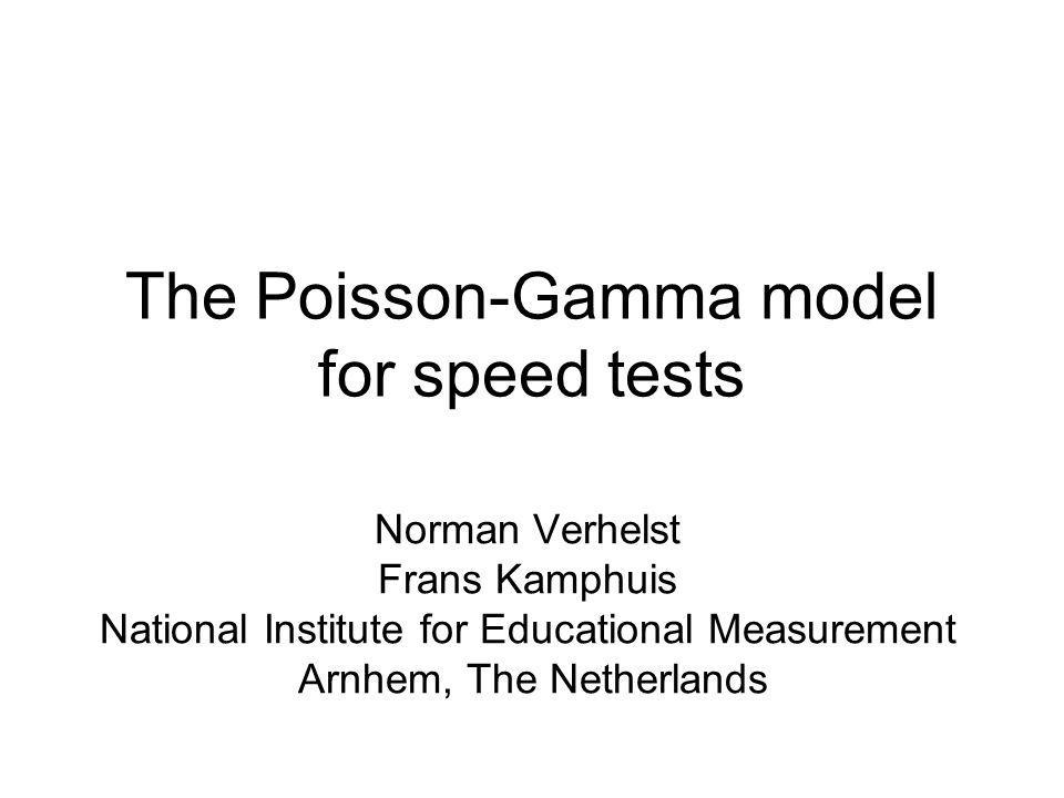 The Poisson-Gamma model for speed tests