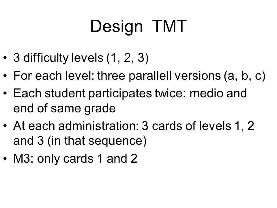 Design TMT 3 difficulty levels (1, 2, 3)