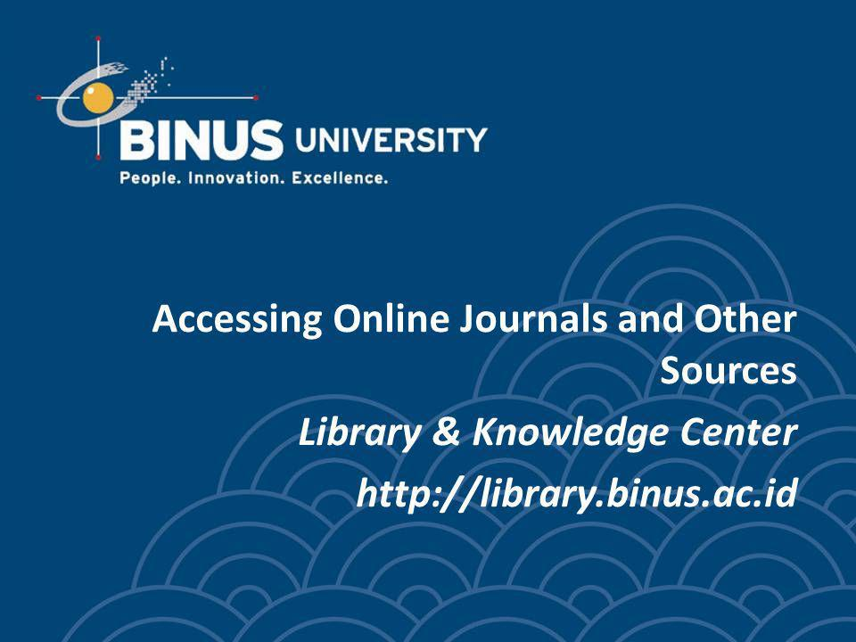 Accessing Online Journals and Other Sources