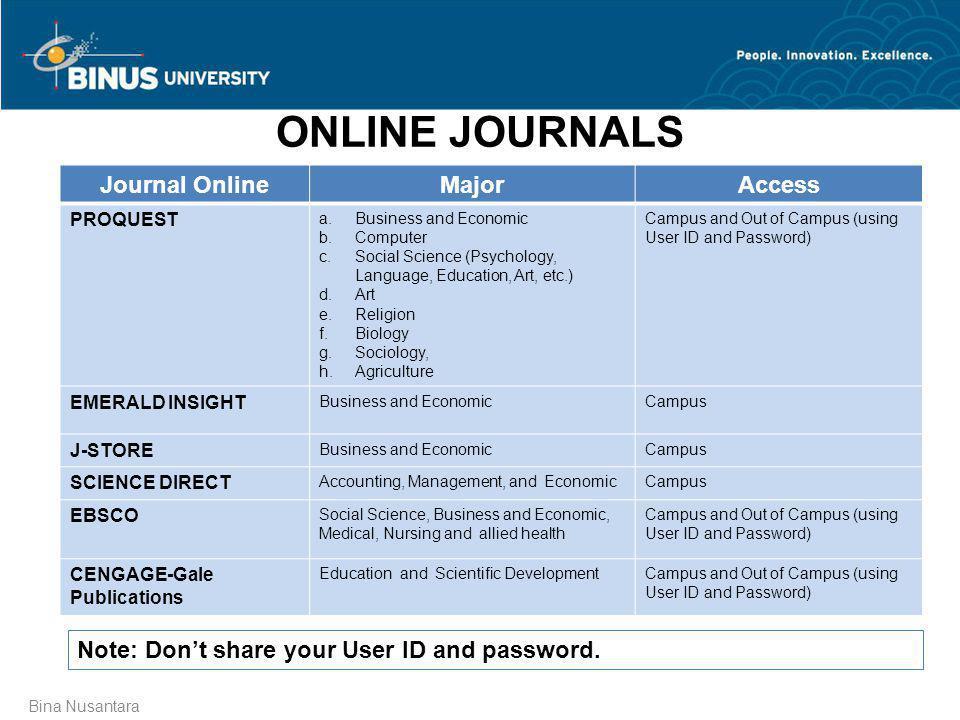 ONLINE JOURNALS Journal Online Major Access