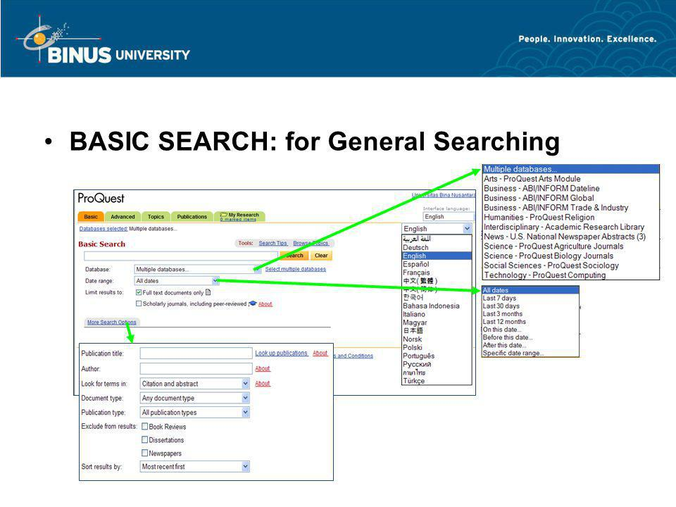 BASIC SEARCH: for General Searching