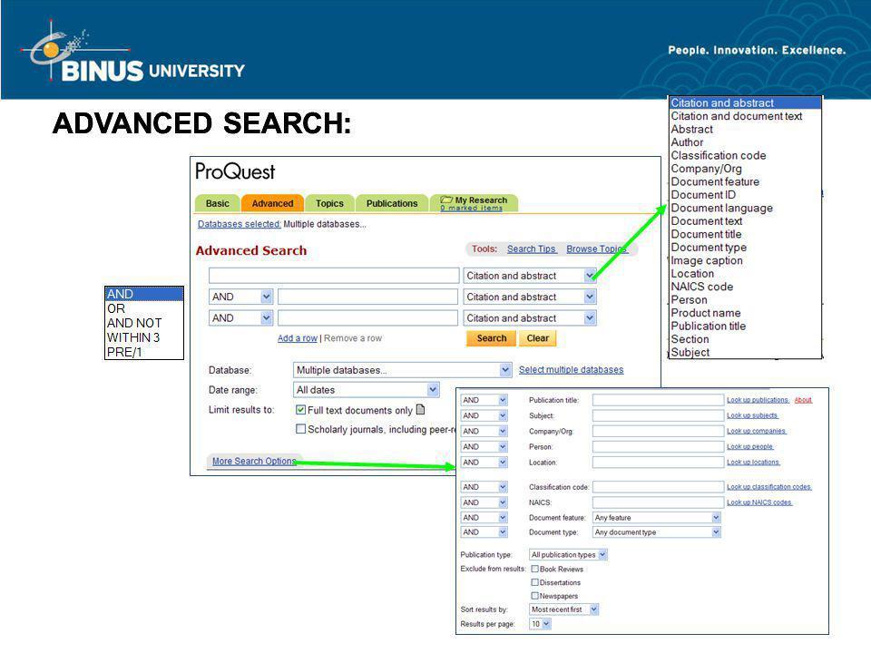 ADVANCED SEARCH: ADVANCED SEARCH: