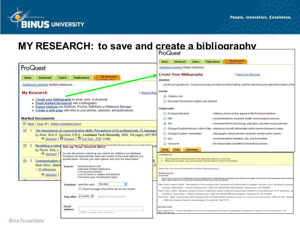 MY RESEARCH: to save and create a bibliography