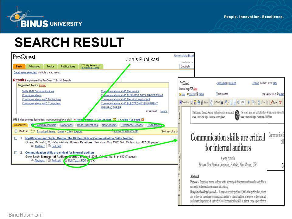 SEARCH RESULT Jenis Publikasi Bina Nusantara