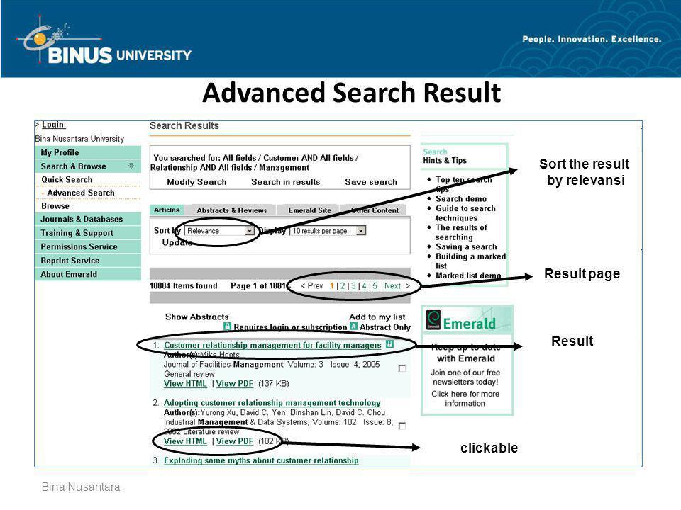 Advanced Search Result