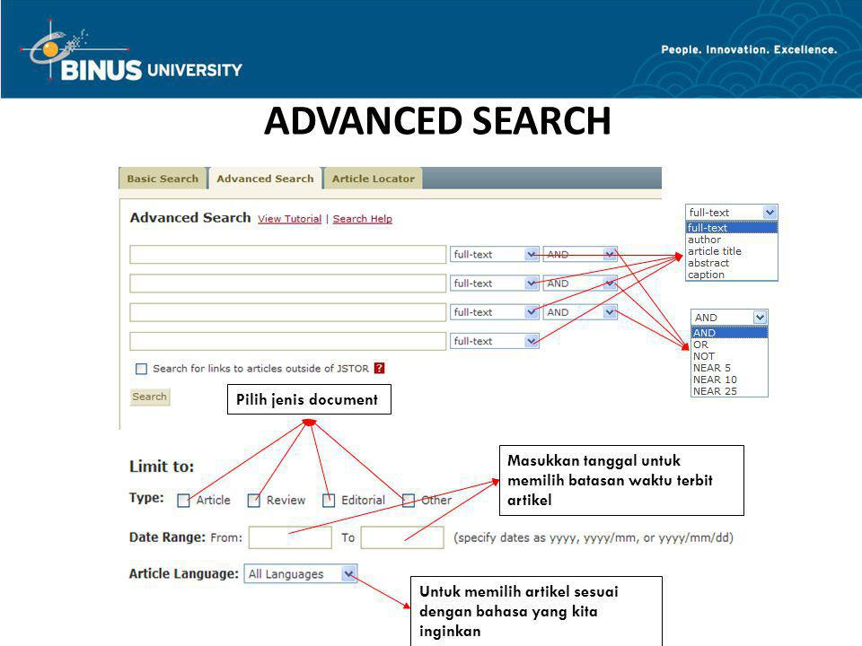 ADVANCED SEARCH Pilih jenis document