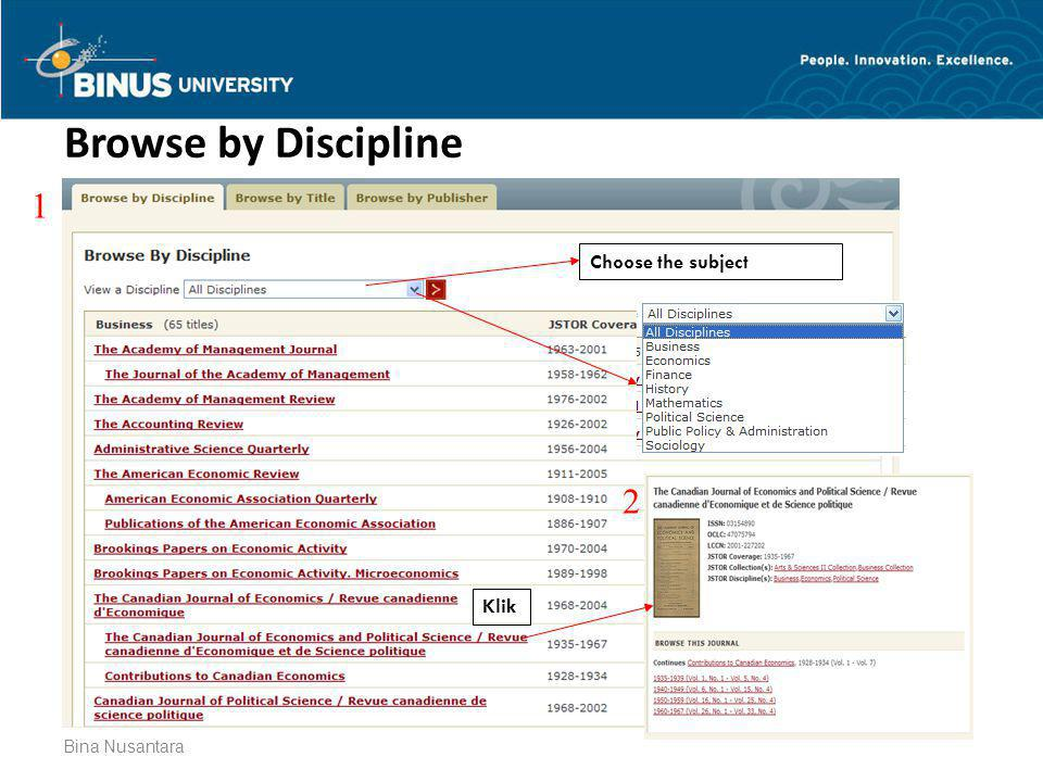 Browse by Discipline 1 Choose the subject 2 Klik Bina Nusantara