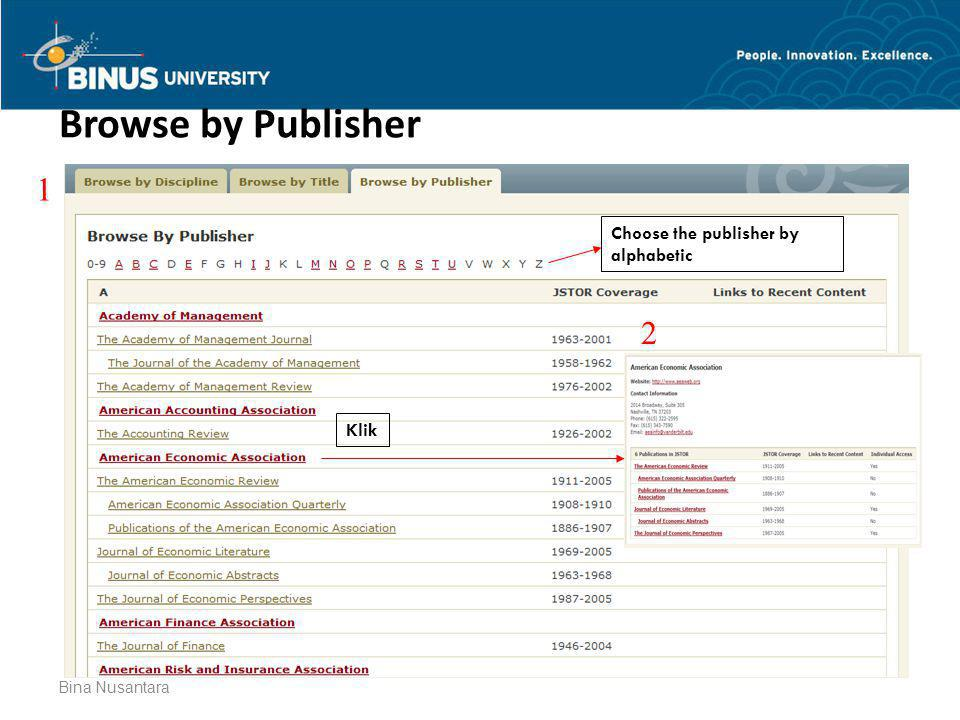 Browse by Publisher 1 2 Choose the publisher by alphabetic Klik