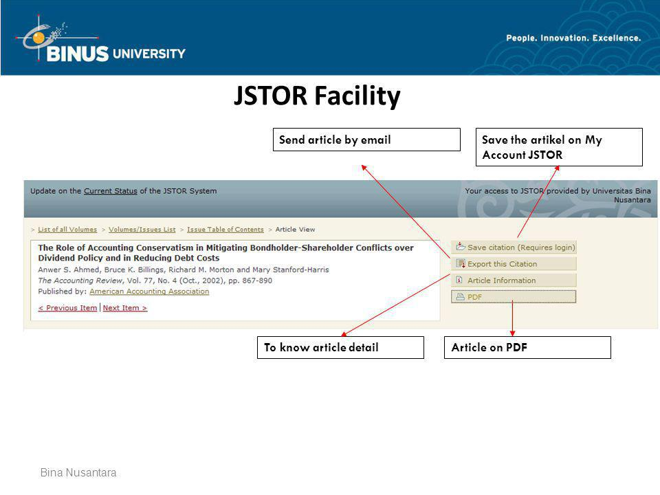 JSTOR Facility Send article by email