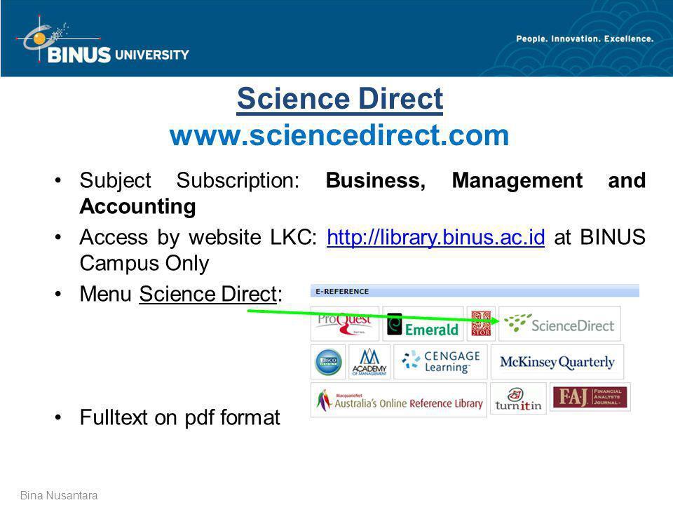 Science Direct www.sciencedirect.com