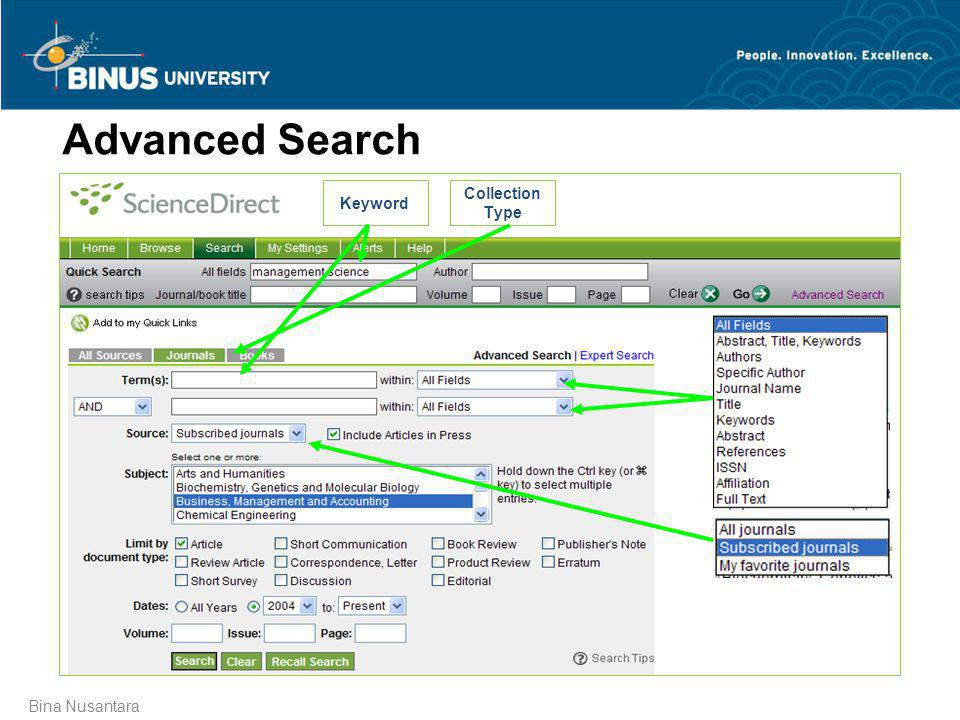 Advanced Search Keyword Collection Type Bina Nusantara