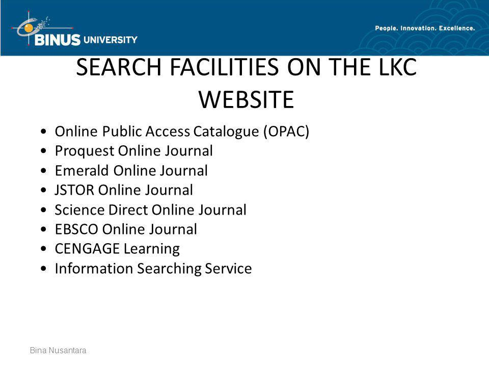 SEARCH FACILITIES ON THE LKC WEBSITE