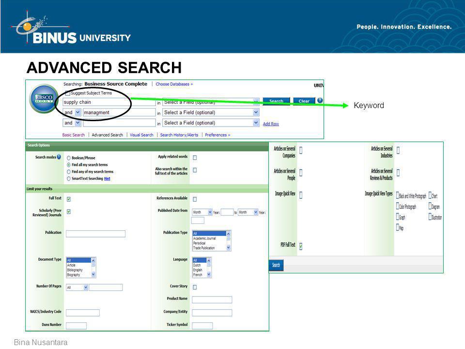 ADVANCED SEARCH Keyword Bina Nusantara