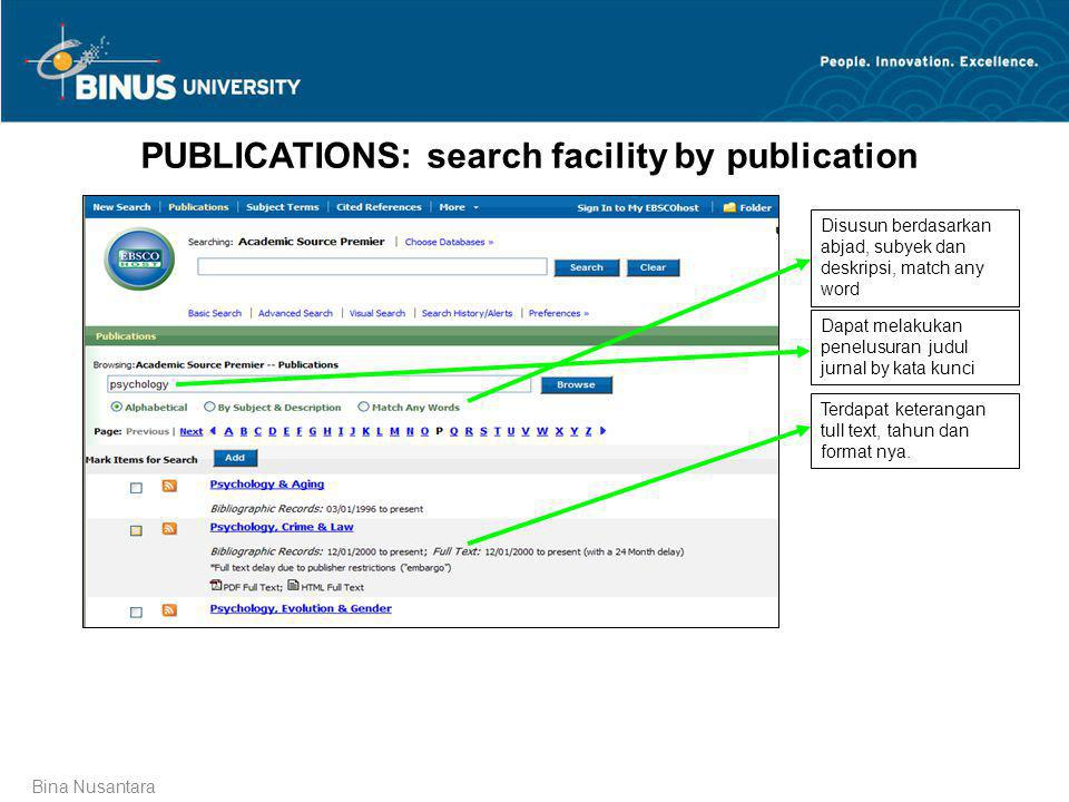 PUBLICATIONS: search facility by publication