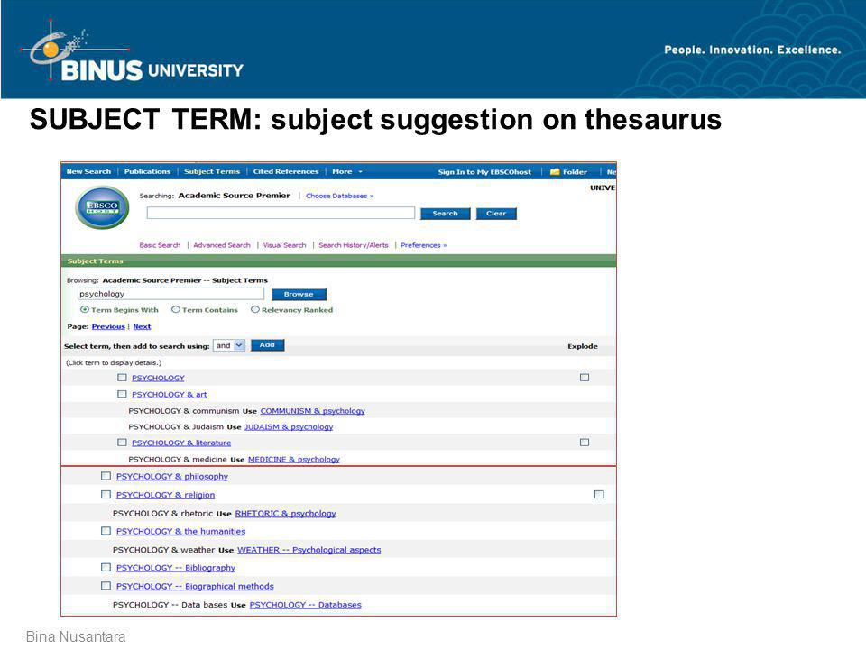 SUBJECT TERM: subject suggestion on thesaurus
