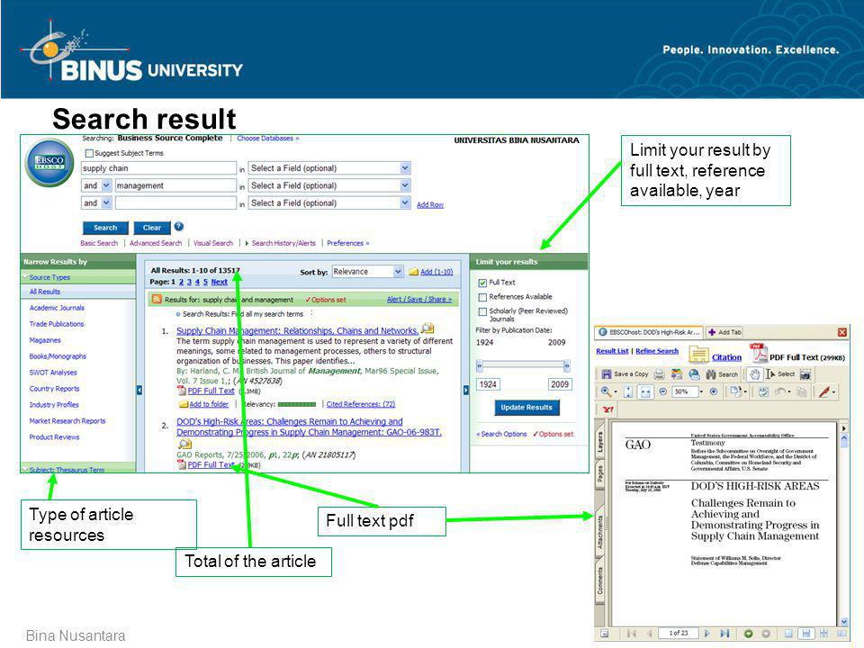 Search result Limit your result by full text, reference available, year. Type of article resources.