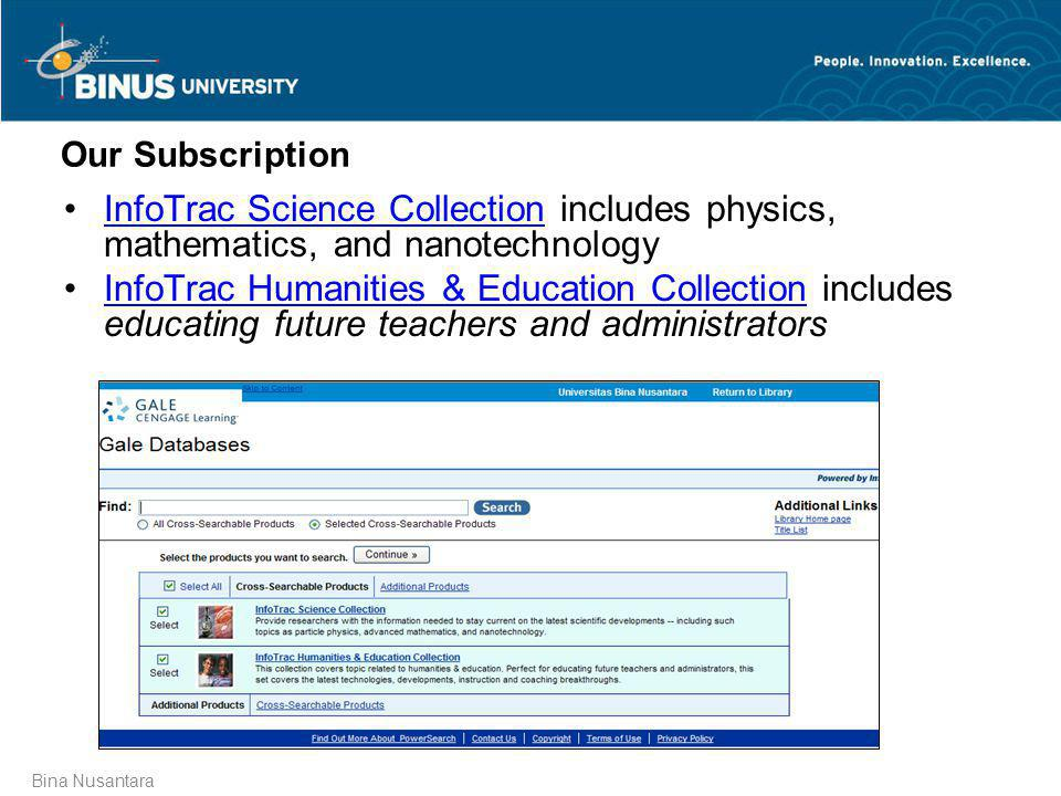 Our Subscription InfoTrac Science Collection includes physics, mathematics, and nanotechnology.