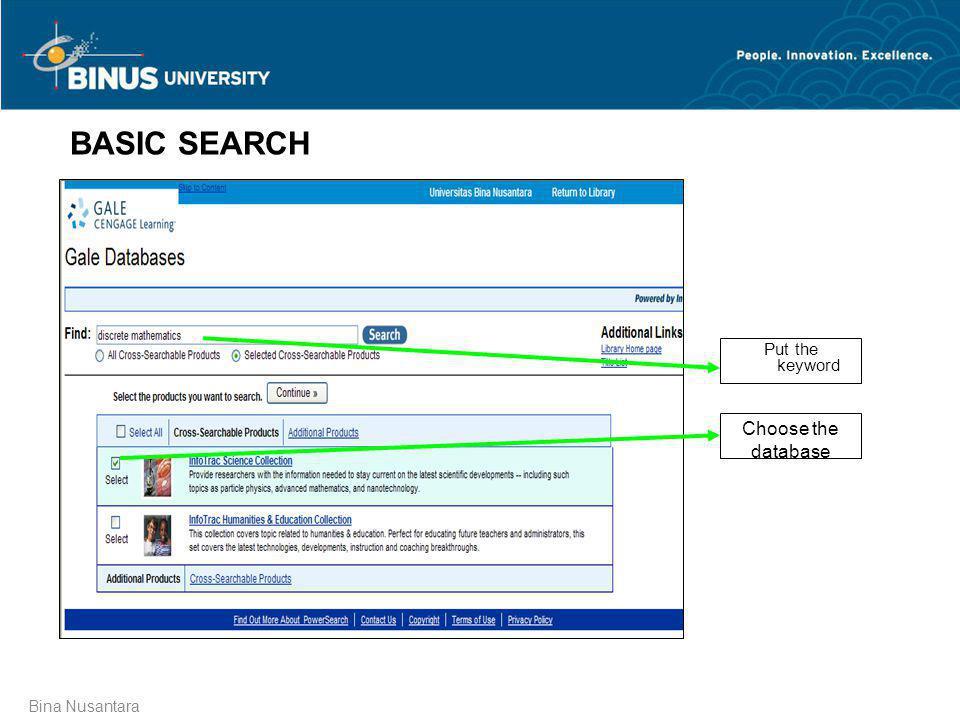 BASIC SEARCH Put the keyword Choose the database Bina Nusantara