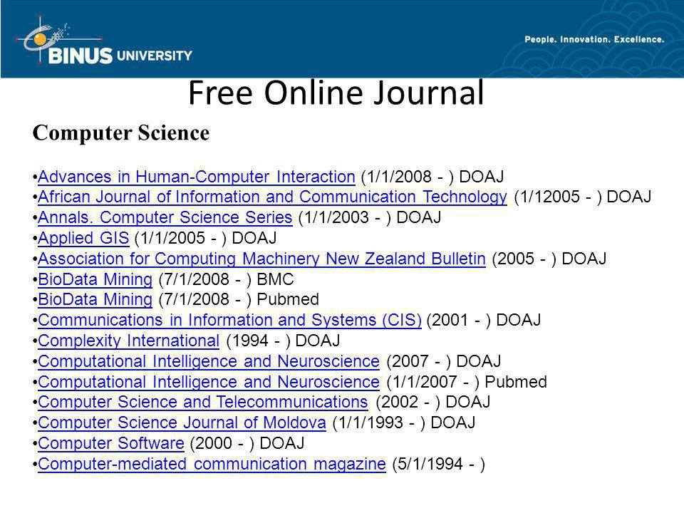 Free Online Journal Computer Science