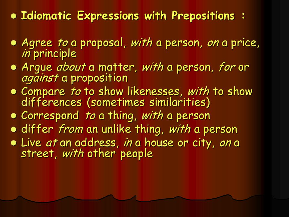 Idiomatic Expressions with Prepositions :