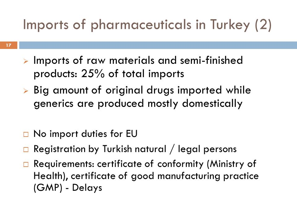 Imports of pharmaceuticals in Turkey (2)