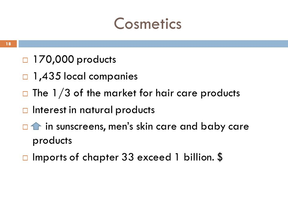 Cosmetics 170,000 products 1,435 local companies