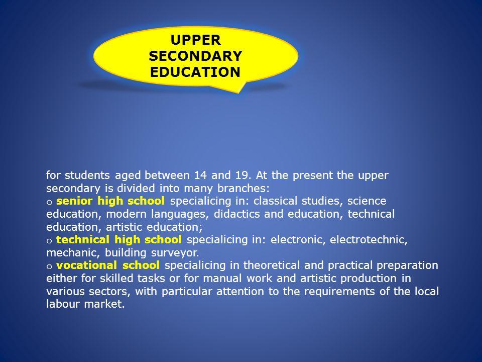 UPPER SECONDARY EDUCATION