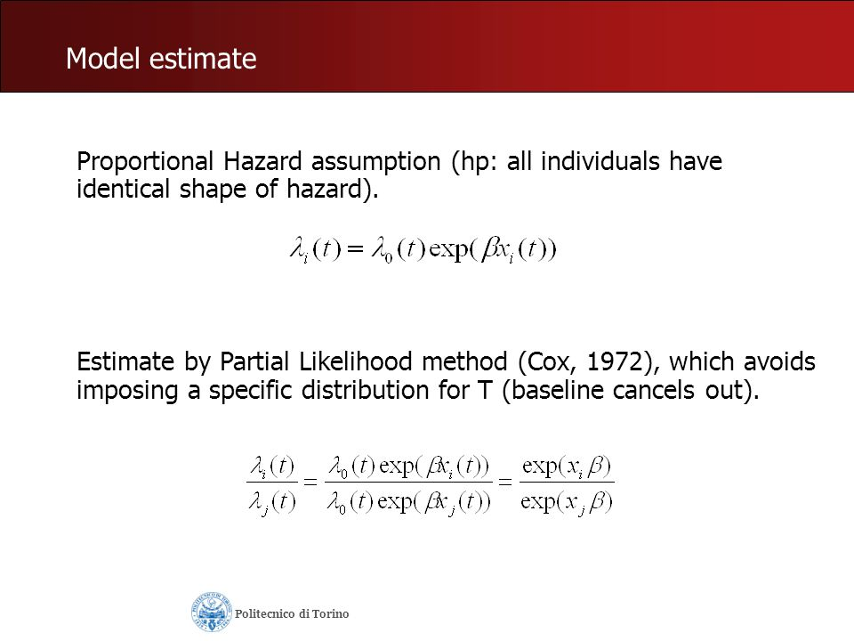 Model estimate Proportional Hazard assumption (hp: all individuals have identical shape of hazard).