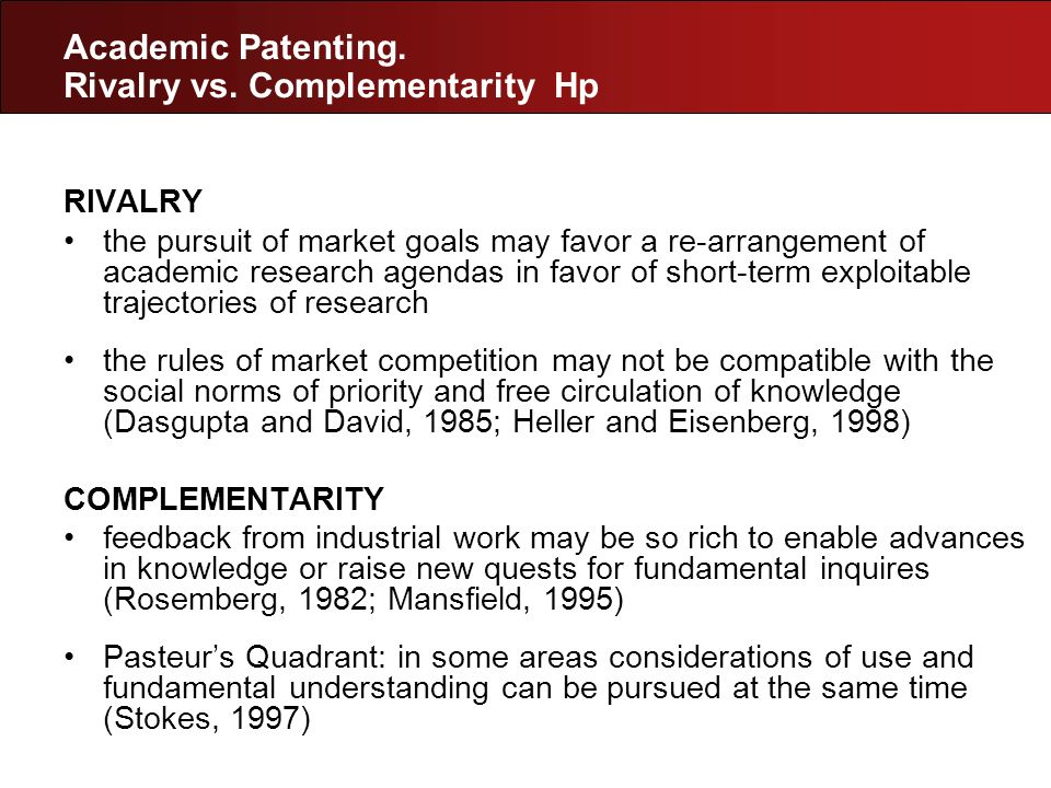 Academic Patenting. Rivalry vs. Complementarity Hp